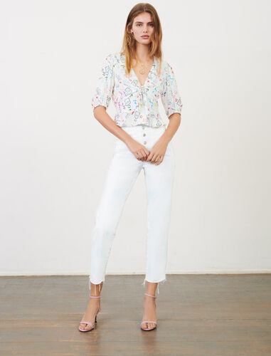 Printed jacquard tie top : Tops color White Red