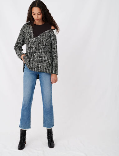 Tweed-style trompe-l'œil top : Tops color Black / White