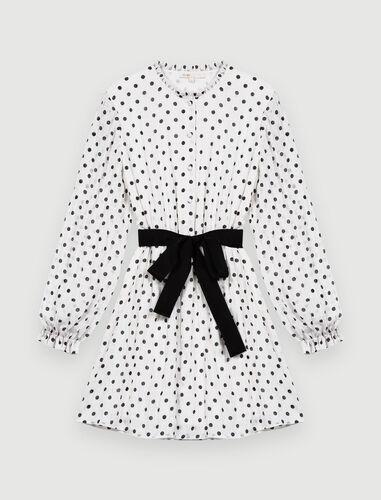 黑色波点连衣裙 : 连衣裙 顏色 白色/黑色/WHITE / BLACK