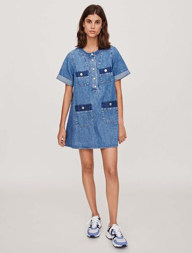 Short jean dress with short sleeves : Dresses color Blue