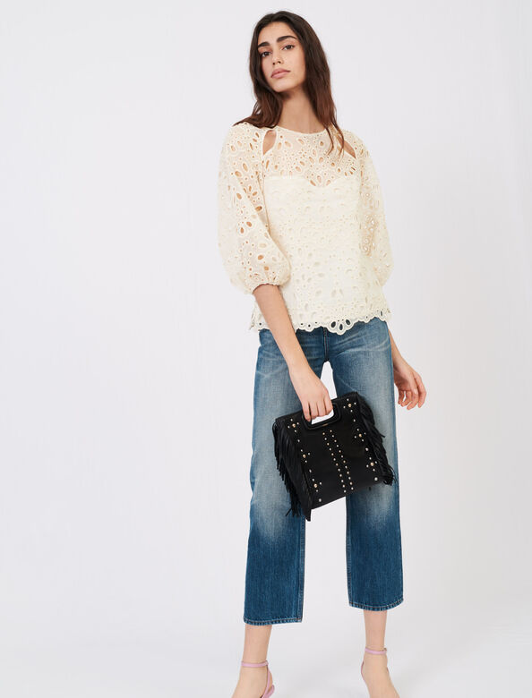 Guipure and organza top : Tops color Beige