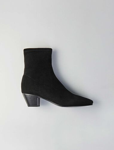 Stretch velvet goat leather booties : SHOES color Black