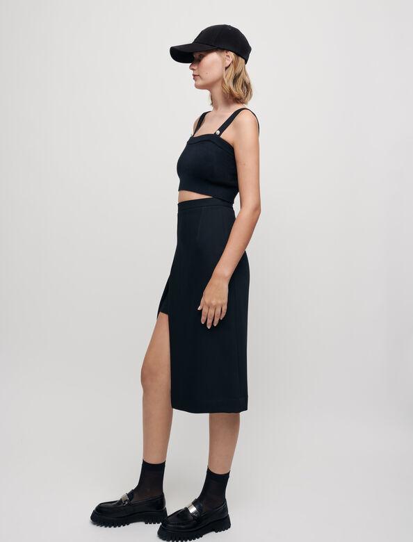 Calf-length split pencil skirt : null color Black