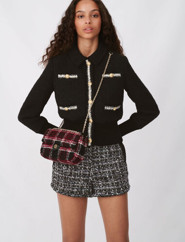 对比色粗花呢外套 : 外套及夹克 顏色 黑色/BLACK