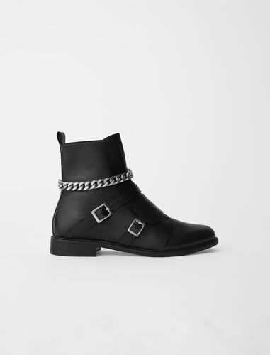 Flat ankle boots with straps and chain : Shoes color Black