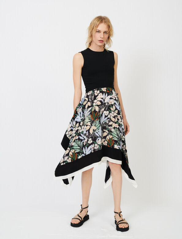 Trompe l'œil printed satin dress : Dresses color Black Jungle