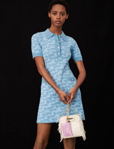 Maje jacquard dress : Dresses color Blue Sky