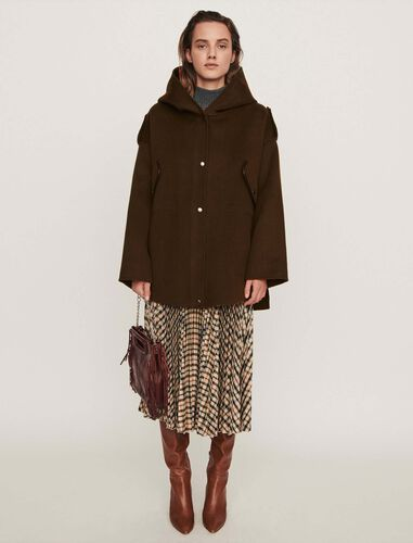Double face cape coat : Overcoat color Khaki