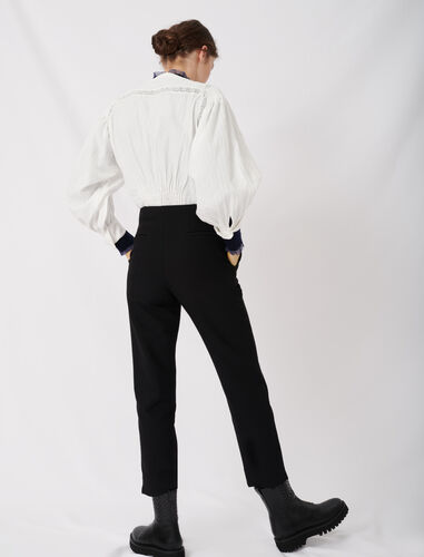 Straight pants belted : Trousers color Black