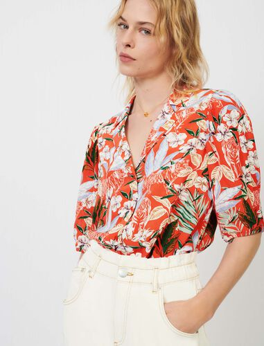 Shirt in printed flowing viscose : Shirts color Red Blush