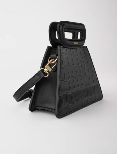 Mini pyramid bag with embossed leather : Shoulder bags color Ecru
