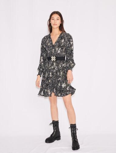 印花绉纱亮片连衣裙 : 连衣裙 顏色 黑白/Black White