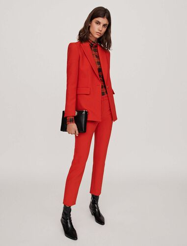 Cinched waist jacket : Blazers color Red