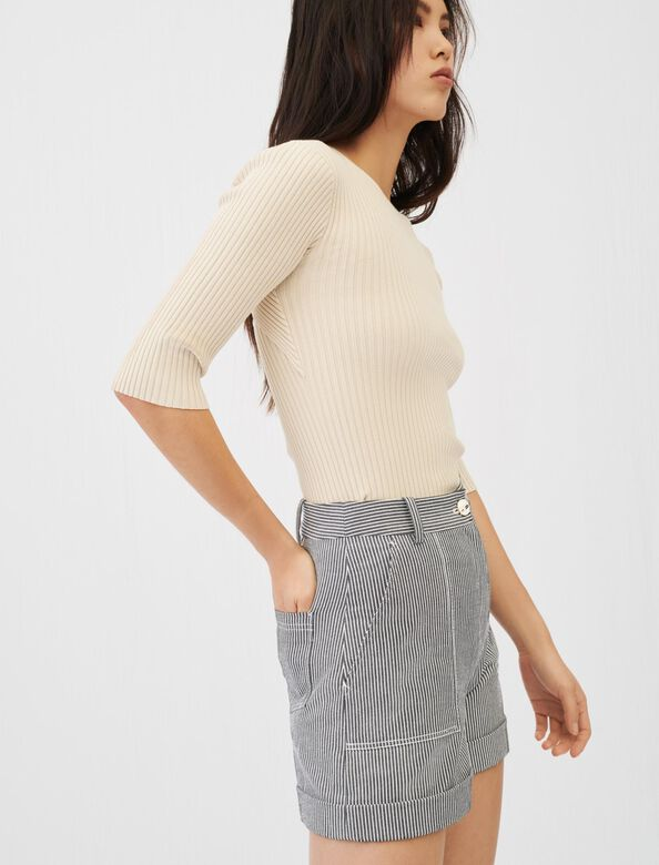 Fine ribbed sweater with an open back : Sweaters color Beige