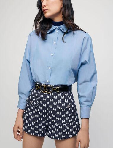 Jacquard shorts with bow pattern : Skirts & Shorts color Navy Knots