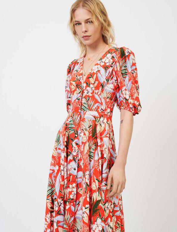 Asymmetric dress in printed crêpe : Dresses color Red Blush
