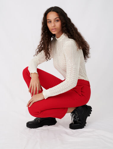 Straight-leg pants : Trousers color Red