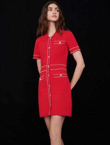 Contrast knit dress : Dresses color Red