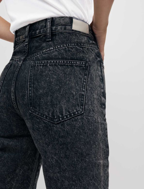 High-waisted faded mom jeans : Trousers & Jeans color Black
