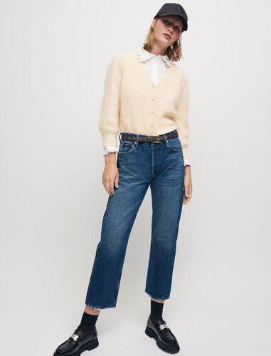 High-waisted straight-cut jeans : Trousers & Jeans color Blue