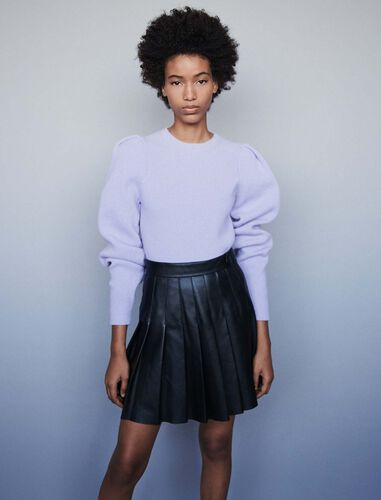Pleated leather skirt : Skirts color Black
