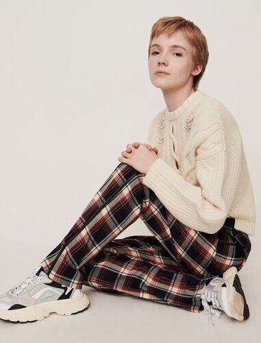 Elasticated plaid pants : Trousers color Navy
