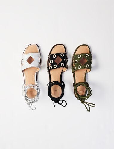 Leather tie sandals : Sling-back & Sandals color Silver