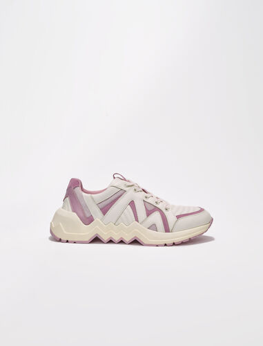 Leather trainers with lug sole : Sneakers color White