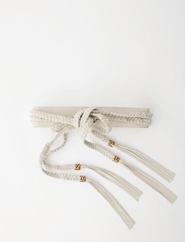 Suede belt with braided ties : Belts color Beige