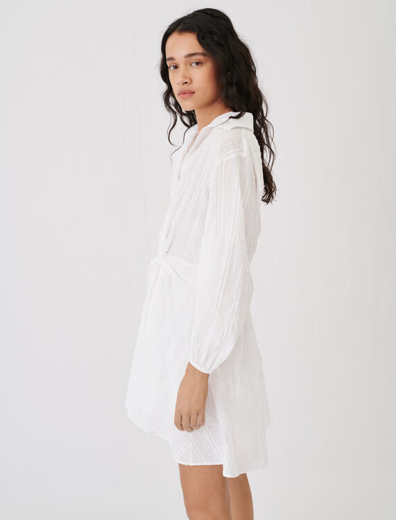 Cotton shirt dress, tied at the waist - Dresses - MAJE