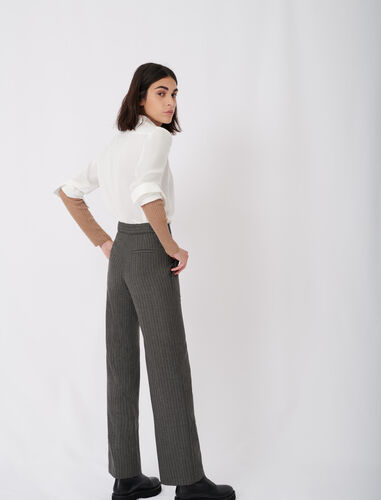 Straight cut tennis stripe trousers : Trousers color Grey