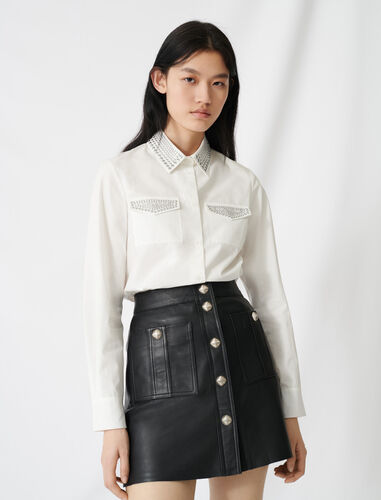 Studded poplin shirt : Shirts color Ecru