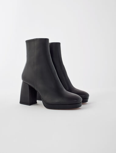 Leather boots with trapeze heel : Shoes color Black