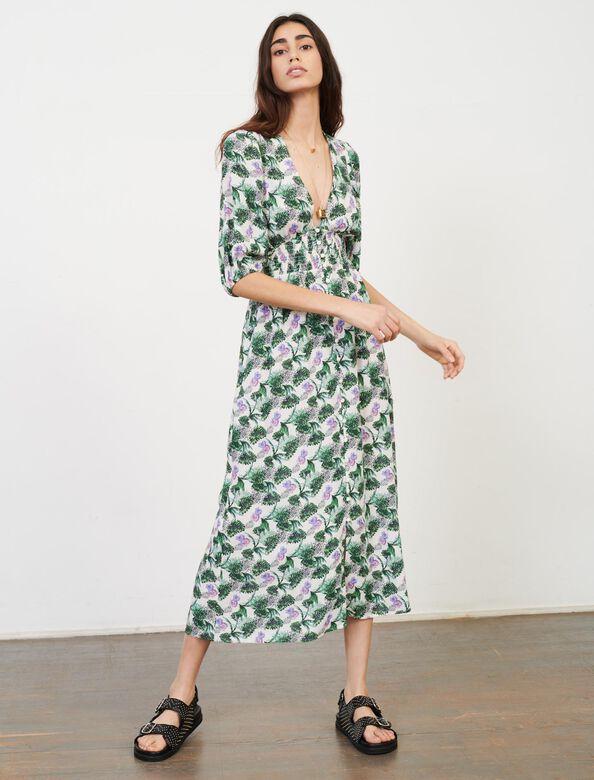 Printed viscose linen dress : Dresses color White/Green/Purple
