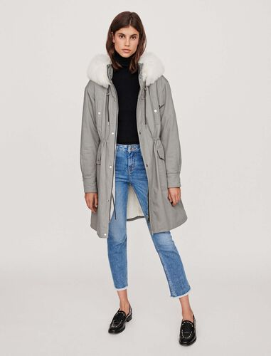 Oversized lined parka with hood : Overcoat color Grey
