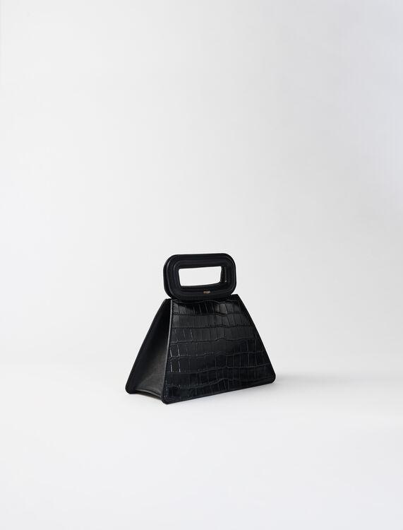 Embossed leather pyramid handle bag : M Bag color Black
