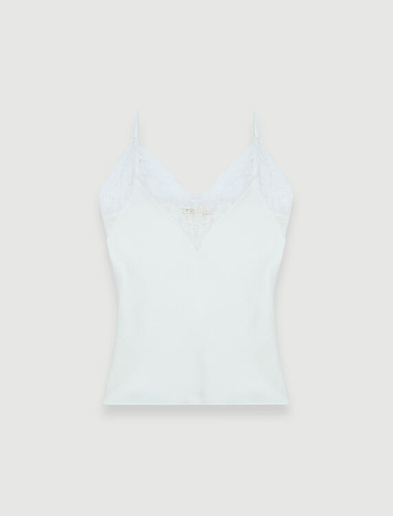 Silk satin and lace top - Tops - MAJE