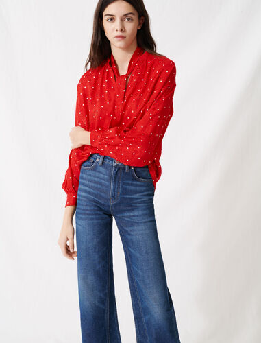 Floaty oversized polka dot blouse : Shirts color Red