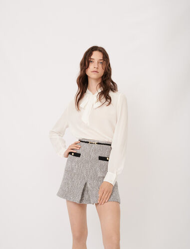 Silk pussy-bow collar top : Tops color White