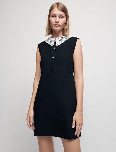 Crêpe dress with guipure collar : Dresses color Black
