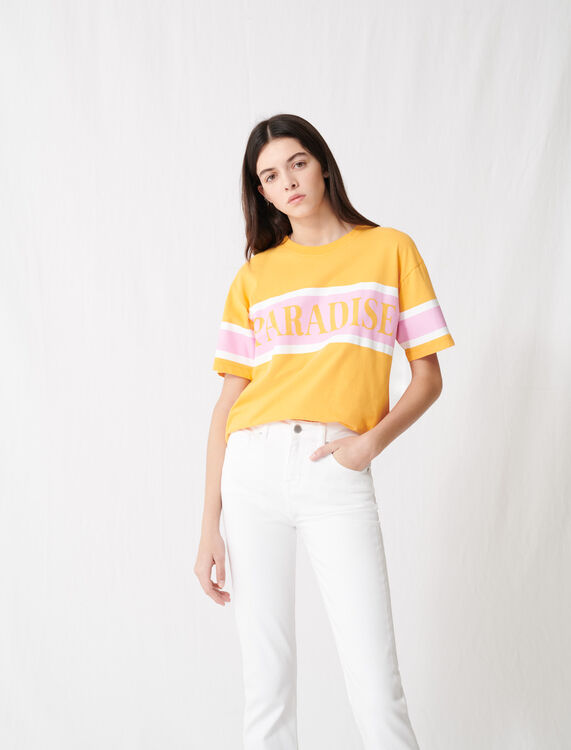 """T-shirt with """"Paradise"""" screen print : T-Shirts color Yellow"""