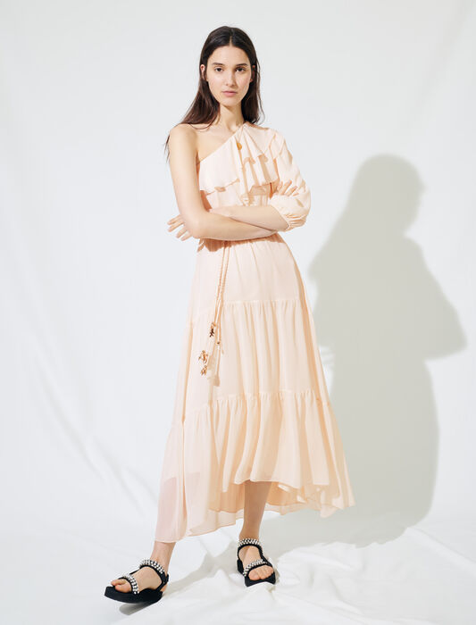 Asymmetrical muslin dress : Dresses color Pale Pink