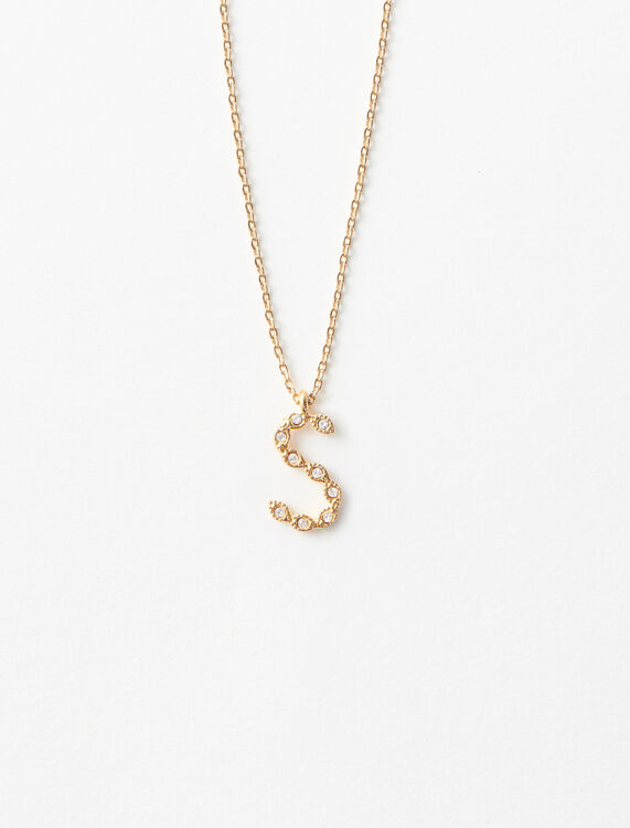 Rhinestone S necklace -  - MAJE