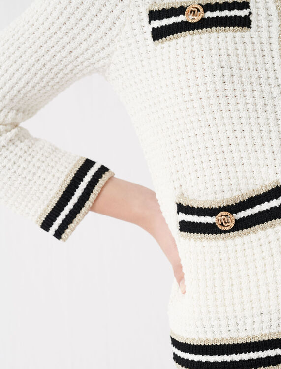 Knit cardigan with contrasting bands : Cardigans color Ecru