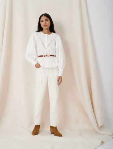 Blouse-style top with guipure braiding : Tops color White