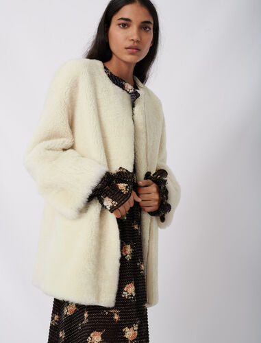 Belted shearling coat : Coats & Jackets color Ecru