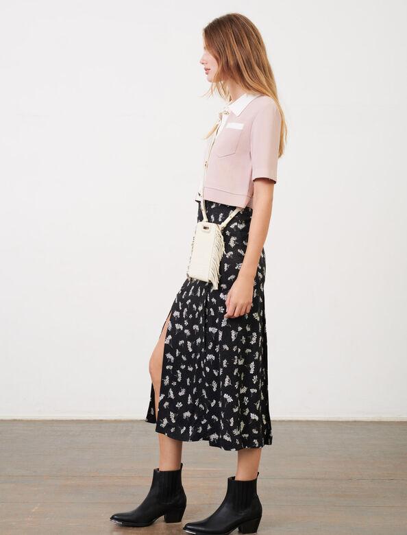 Straight, slit skirt in printed jacquard : Skirts color Black/White