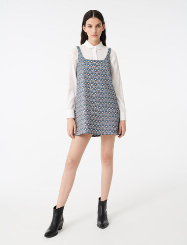 Strappy jacquard dress : Dresses color Light Blue