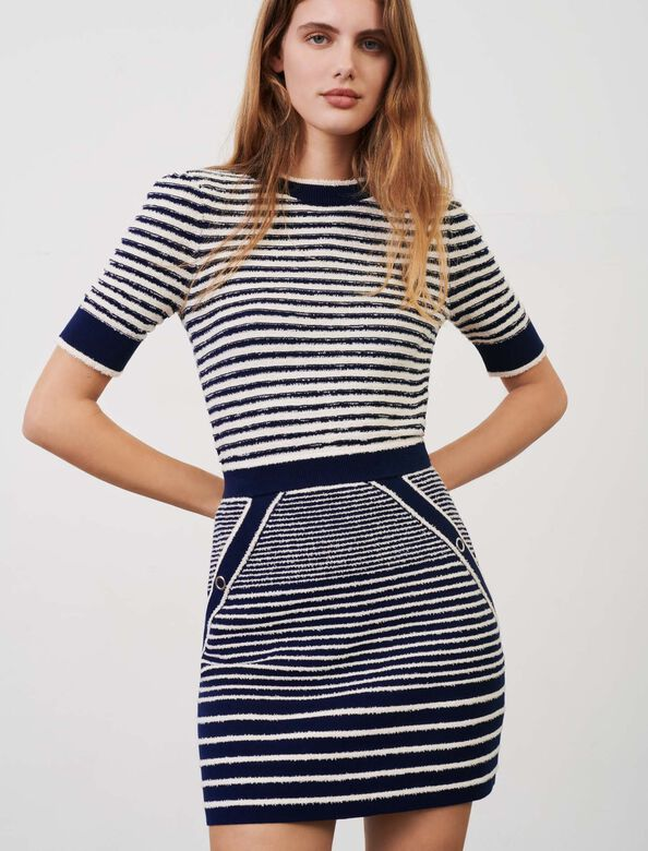 Sailor-style straight-cut skirt : Skirts color Navy / Ecru