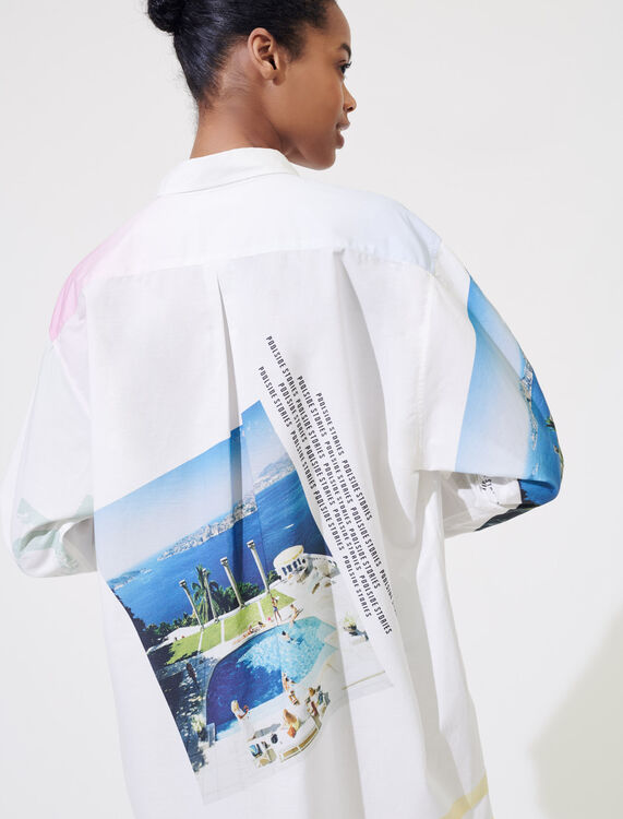 Printed oversized cotton shirt : Shirts color White/Pink/Blue